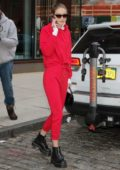 Gigi Hadid steps out in a red sweatsuit in New York City