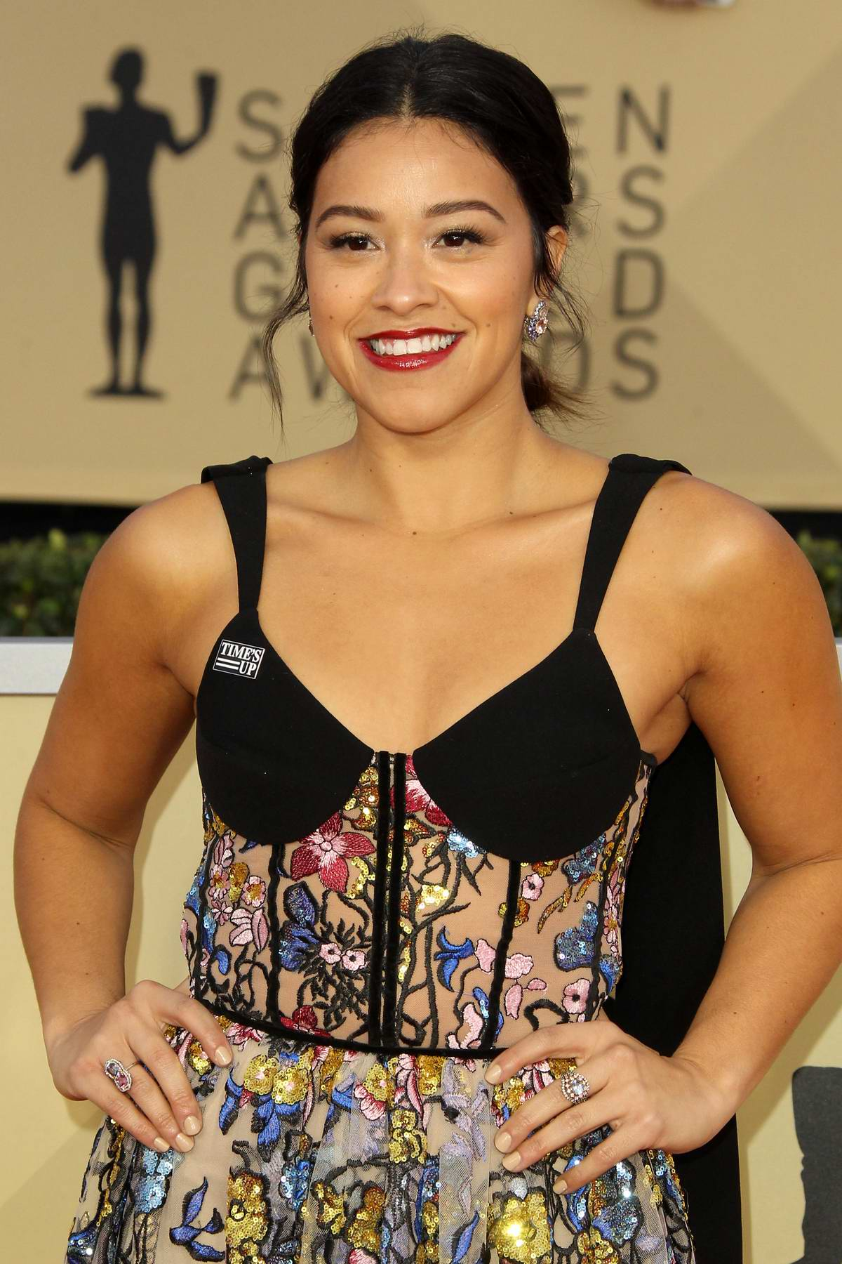 Gina Rodriguez attends the 24th Annual Screen Actors Guild (SAGs) Awards 2018 at The Shrine Auditorium in Los Angeles