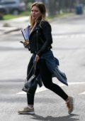 Hilary Duff head to a private residence with a script in her hand in Santa Monica, California