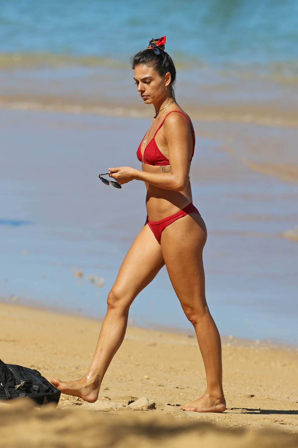 Isis Valverde hits the beach in a red bikini in Hawaii