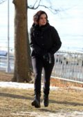 Jaimie Alexander filming an intense action scene for the show Blindspot in Astoria Park, Queens, New York City