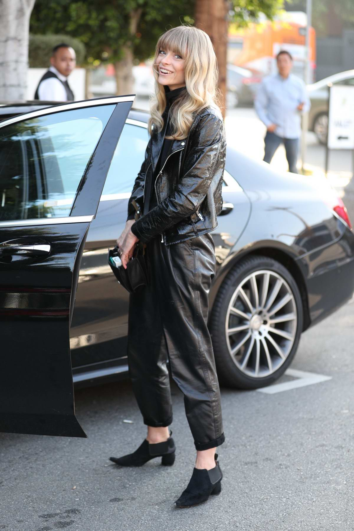 Jamie King steps out in an all black leather outfit at Fig & Olive Restaurant in West Hollywood, Los Angeles