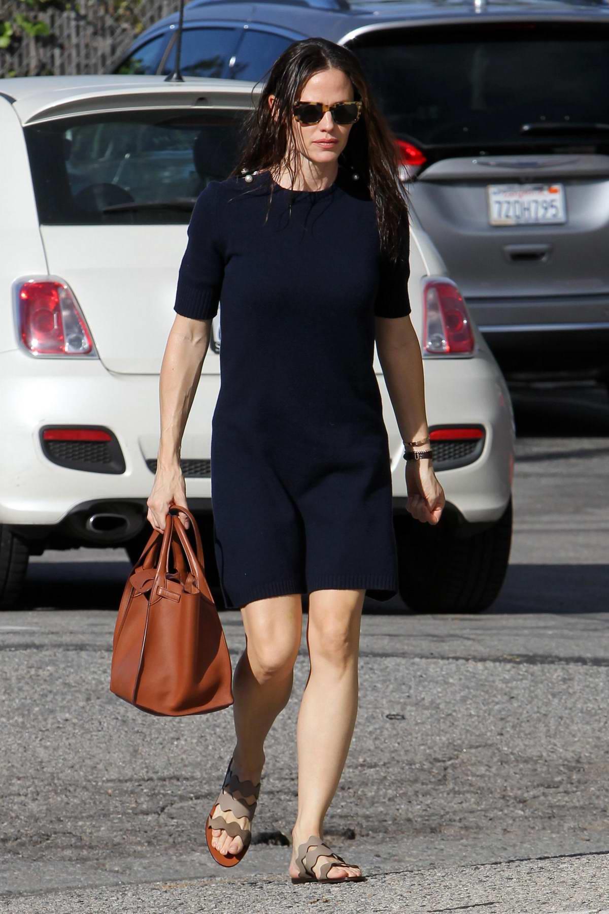Jennifer Garner wears a navy blue dress to Church for Sunday service in Los Angeles