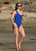 Jennifer Metcalfe hits the beach in a blue swimsuit in Tenerife, Spain