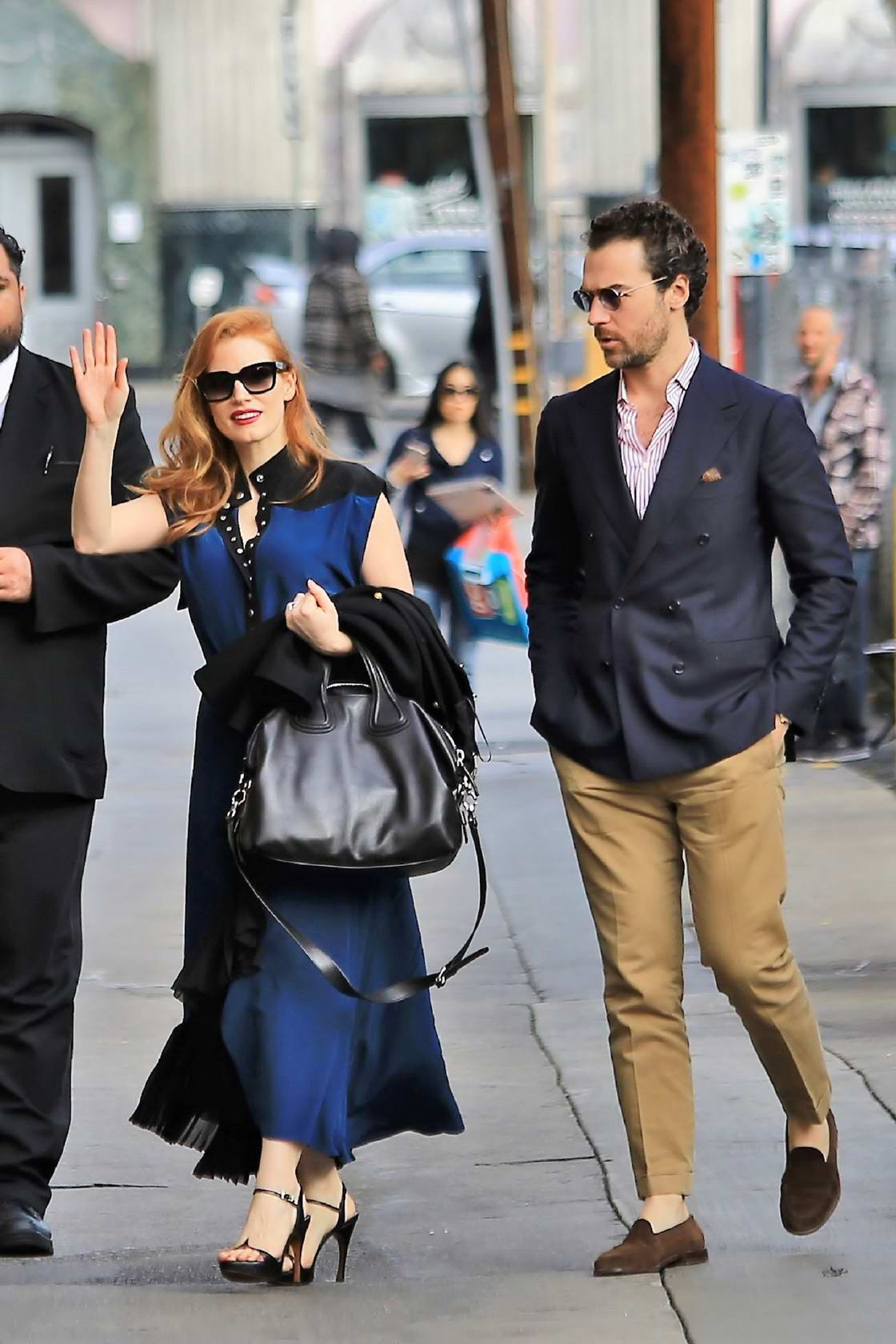 Jessica Chastain arrives for her appearance on Jimmy Kimmel Live! in Hollywood, Los Angeles