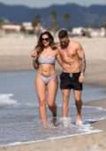 Jessica Shears dons a bikini while she enjoys some PDA with fiance Dom Lever at the beach in Santa Monica, California