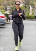 Jordyn Woods pick up smoothies before heading to Kylie Jenner's house in Calabasas, California
