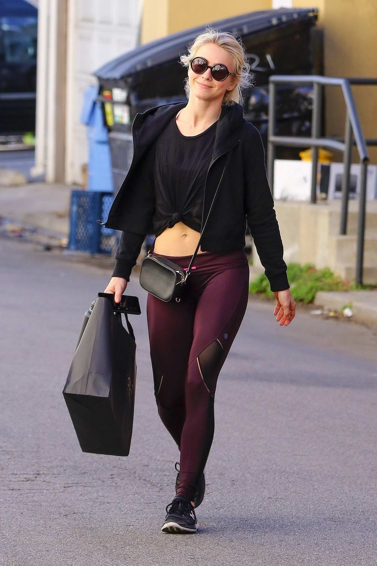 Julianne Hough shows off her abs she leaves the gym in Los Angeles