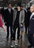 Kaia Gerber arrives at Georges V Hotel in Paris after Chanel Show during Paris Fashion Week
