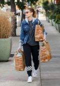 Kate Mara does some grocery shopping on her way from the gym in Los Angeles