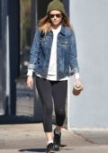 Kate Mara steps out in a green beanie and denim jacket with black leggings as she head to the gym in Los Angeles
