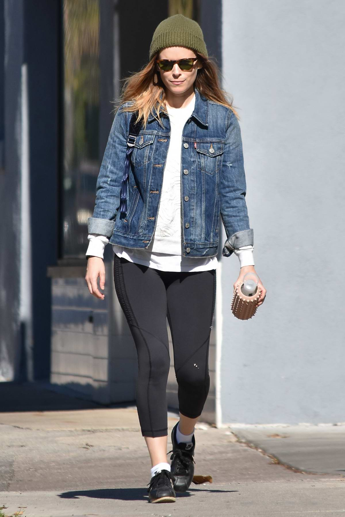 Kate Mara steps out in a green beanie and denim jacket ...