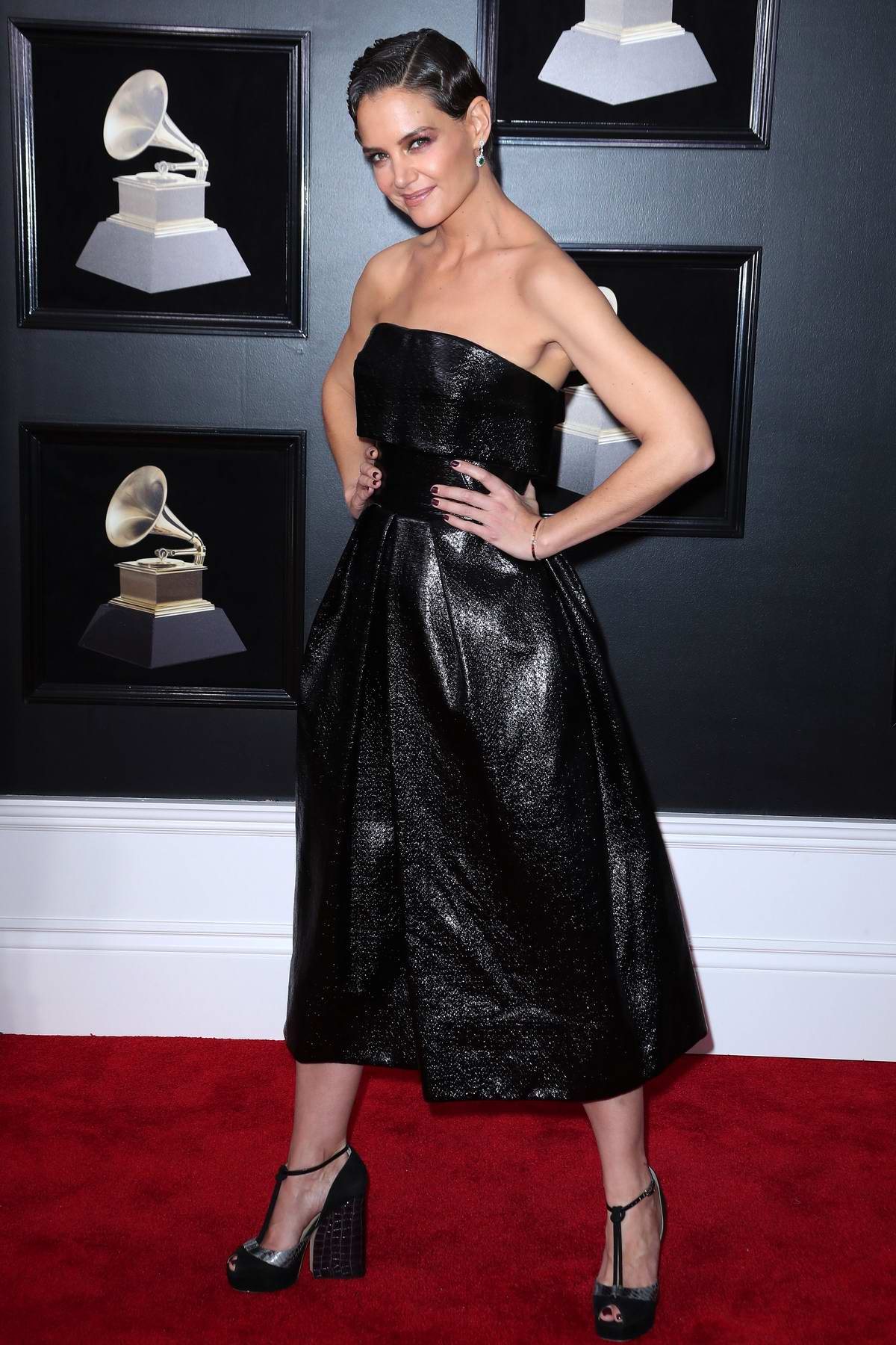 Katie Holmes attends the 60th Annual Grammy Awards at Madison Square Garden in New York