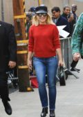 Kristen Bell arrives to make an appearance on Jimmy Kimmel Live wearing bright red sweater in Hollywood, Los Angeles