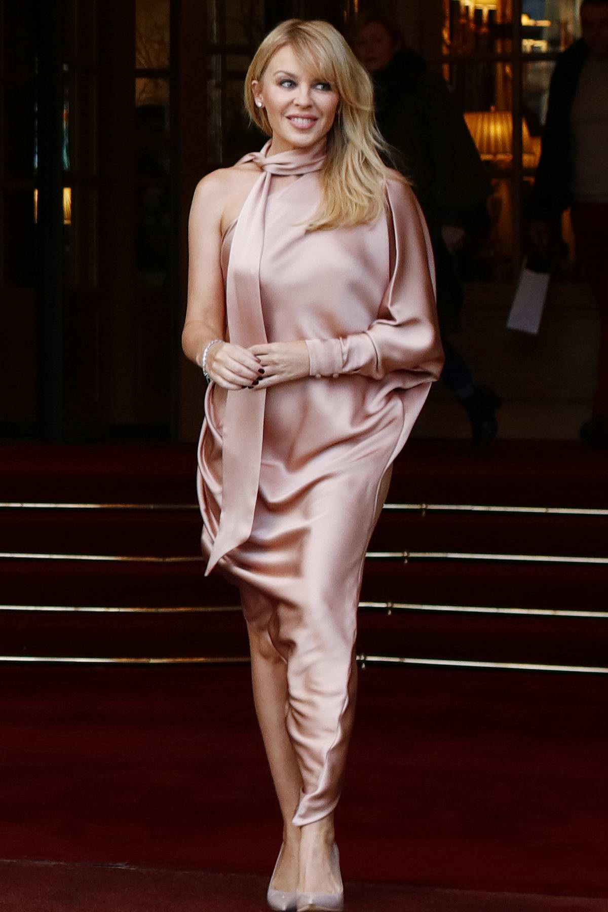 Kylie Minogue seen leaving the Ritz Hotel in Paris, France