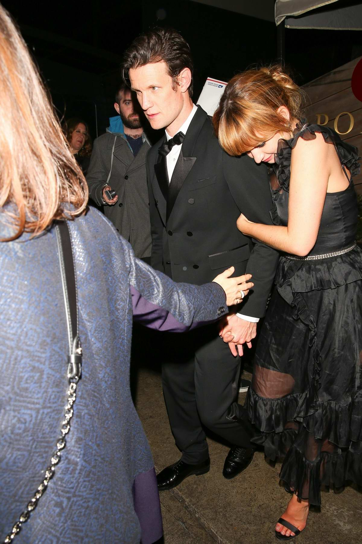Lily James and Matt Smith leaving Golden Globes after-party at Poppy in West Hollywood, Los Angeles