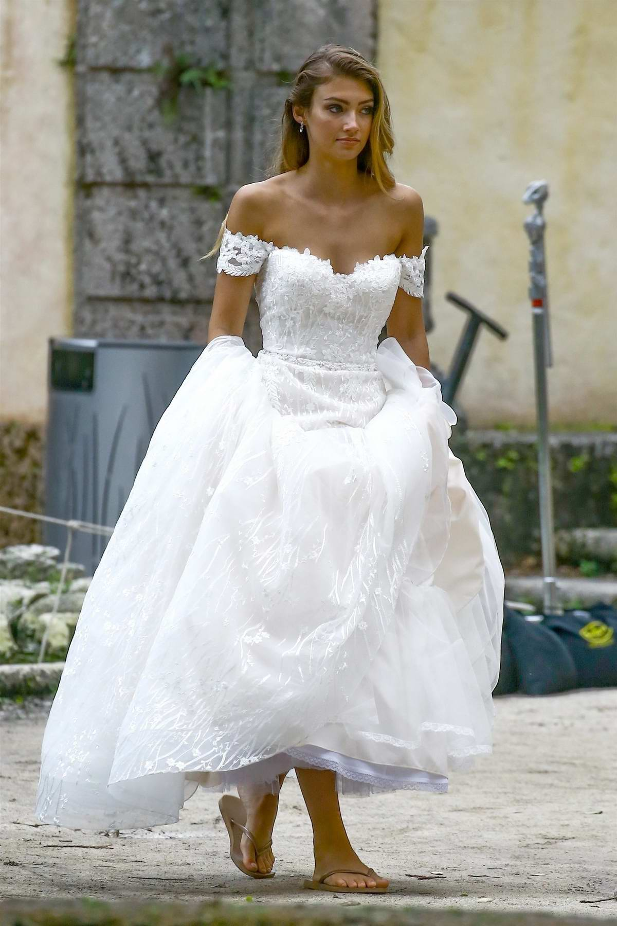 Lorena Rae pose for the camera in a wedding dress during a photoshoot at a house in Miami beach, Florida