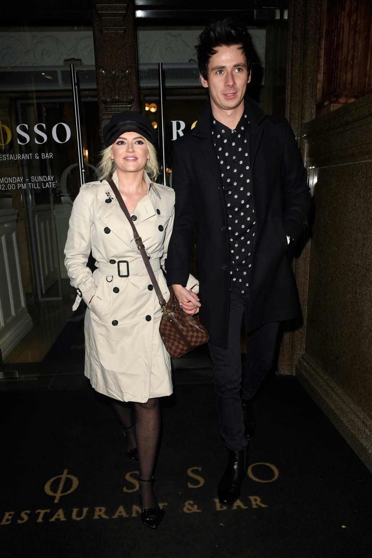 Lucy Fallon and boyfriend Tom Leech enjoys a date night at Rosso in Manchester, UK