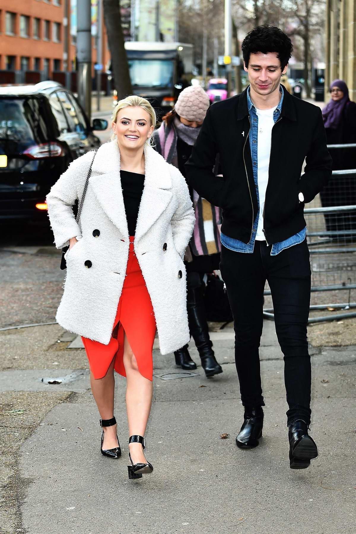 Lucy Fallon and boyfriend Tom Leech spotted outside ITV studios in London