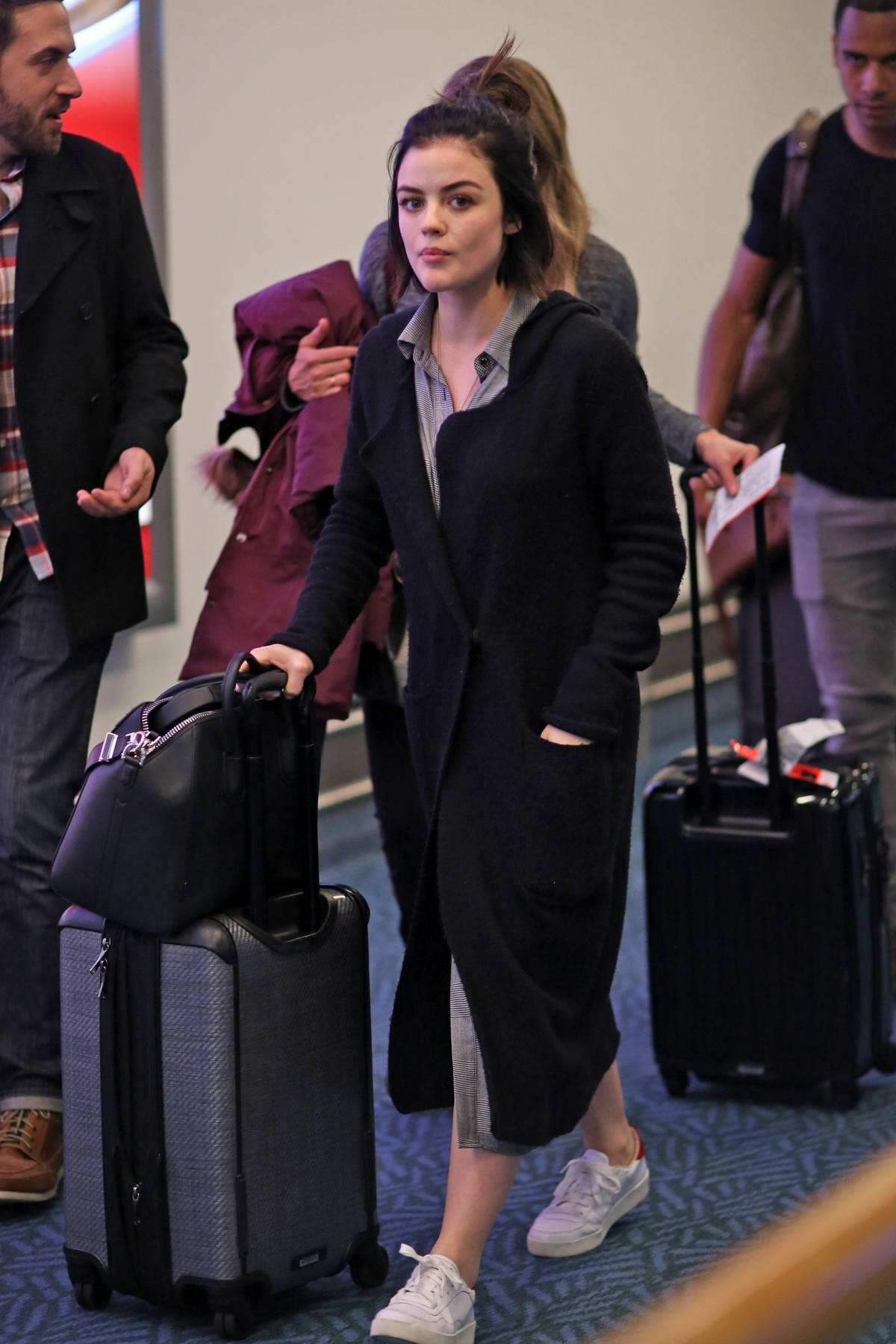 lucy hale spotted at the airport as she arrives back to
