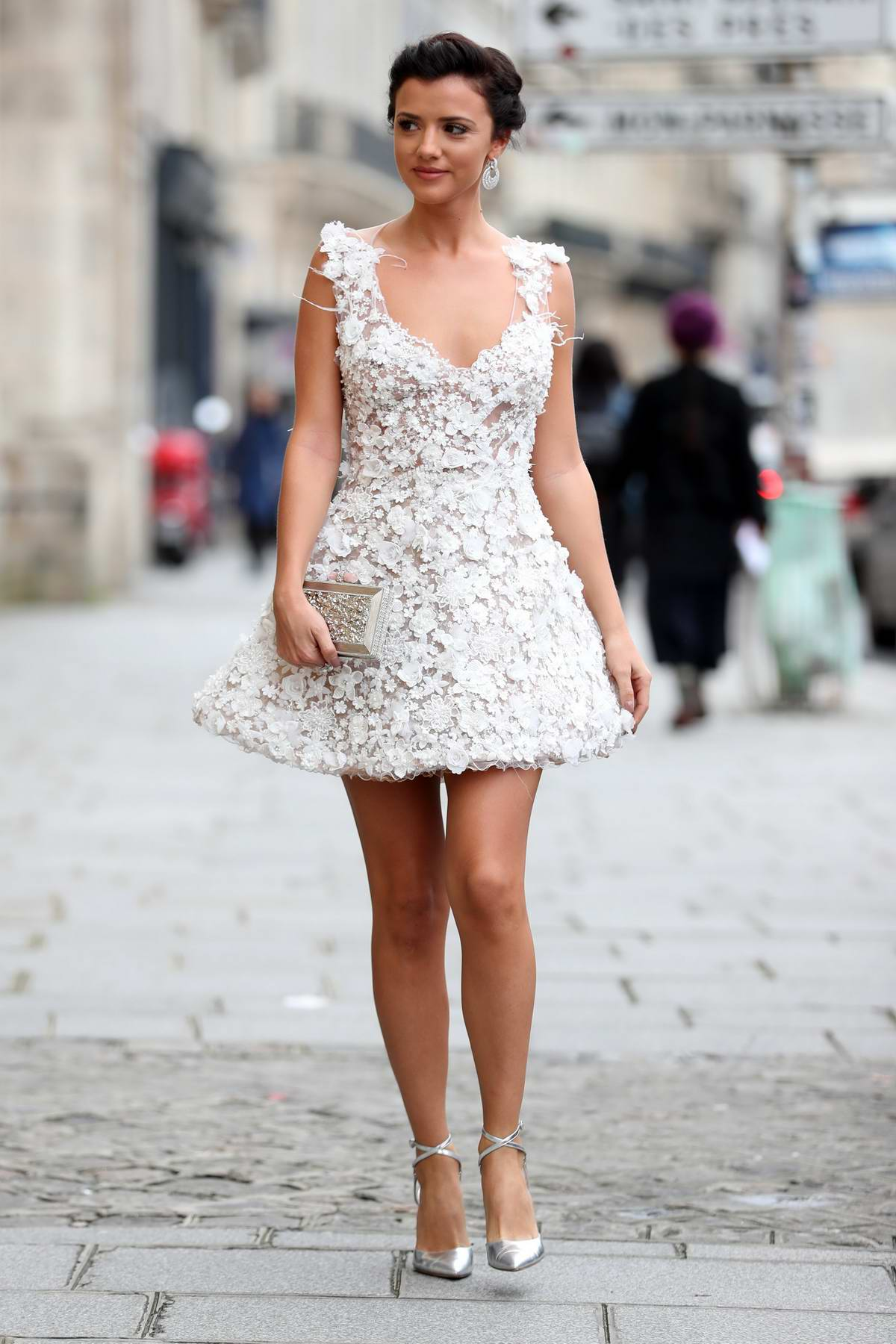 Lucy Mecklenburgh arriving at Galia Lahav Fashion Show at Paris Fashion Week in Paris, France