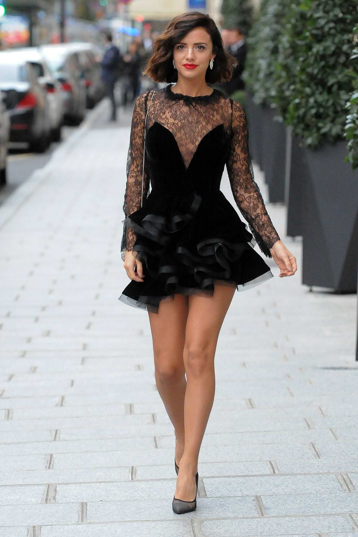 Lucy Mecklenburgh steps out in a short black dress during Paris Fashion Week in Paris, Los Angeles
