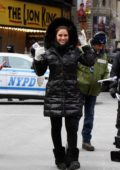 Maria Menounos in a freezing cold weather covering New Year celebrations at Times Square in New York City