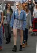 Meg Donnelly goes shopping with a friend at the farmers market in Studio City, Los Angeles