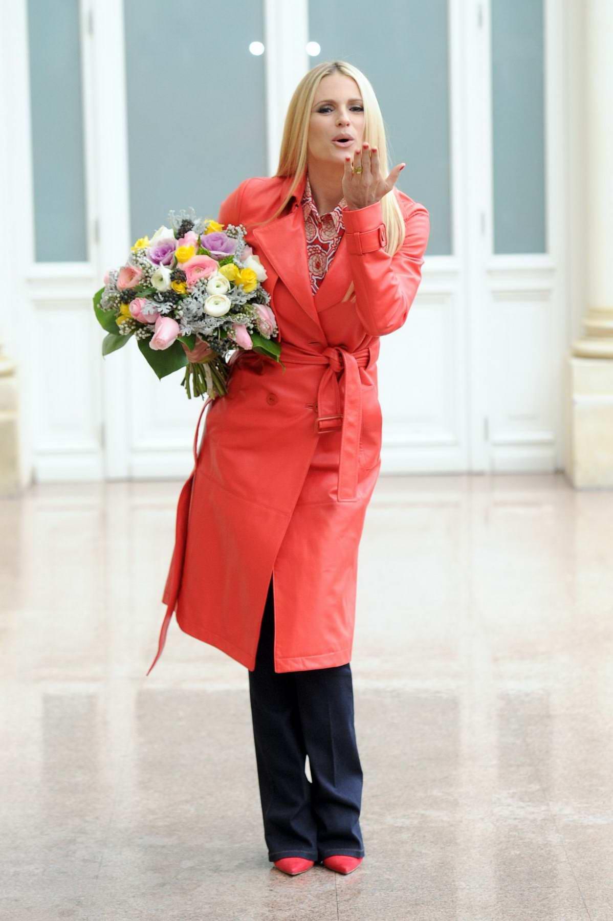 Michelle Hunziker attends 68th Sanremo Music Festival held at Teatro Ariston in Sanremo, Italy