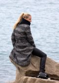 Michelle Hunziker relax at the beach before the rehearsals of the Sanremo Festival, Italy