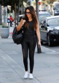 Michelle Keegan sports all black workout gear as she heads to the Equinox gym in Los Angeles