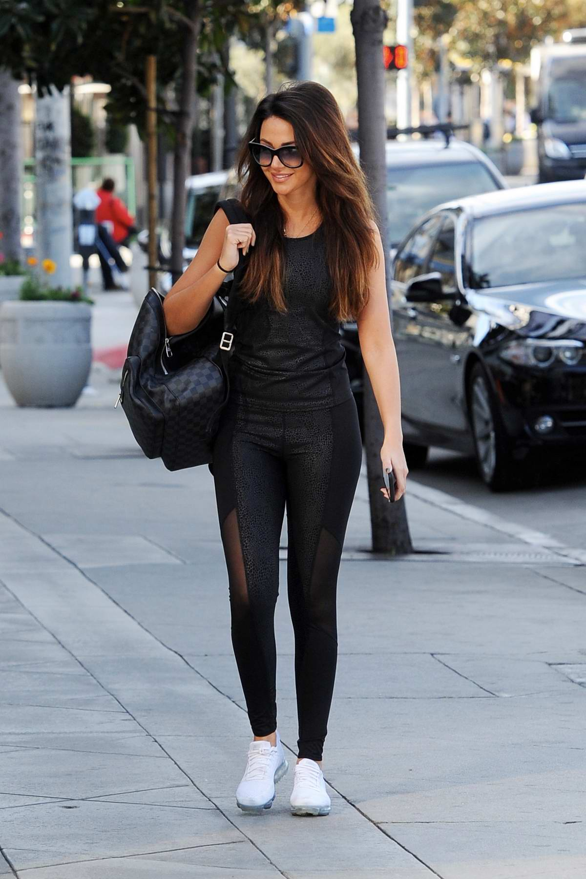 35c3c99d77137 Michelle Keegan sports all black workout gear as she heads to the Equinox  gym in Los Angeles