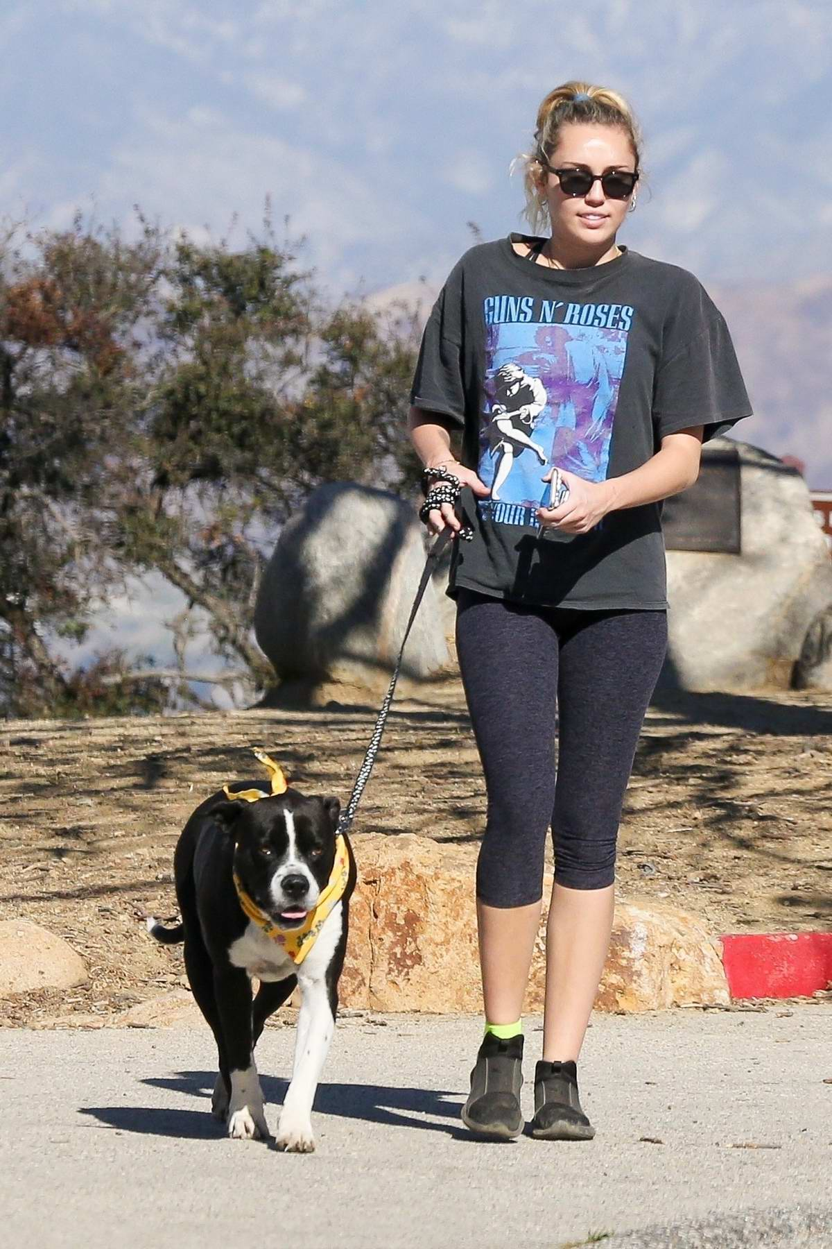 Miley Cyrus out for a hike with her dog in Studio City, Los Angeles