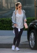 Minka Kelly heads out of the gym after a workout in West Hollywood, Los Angeles