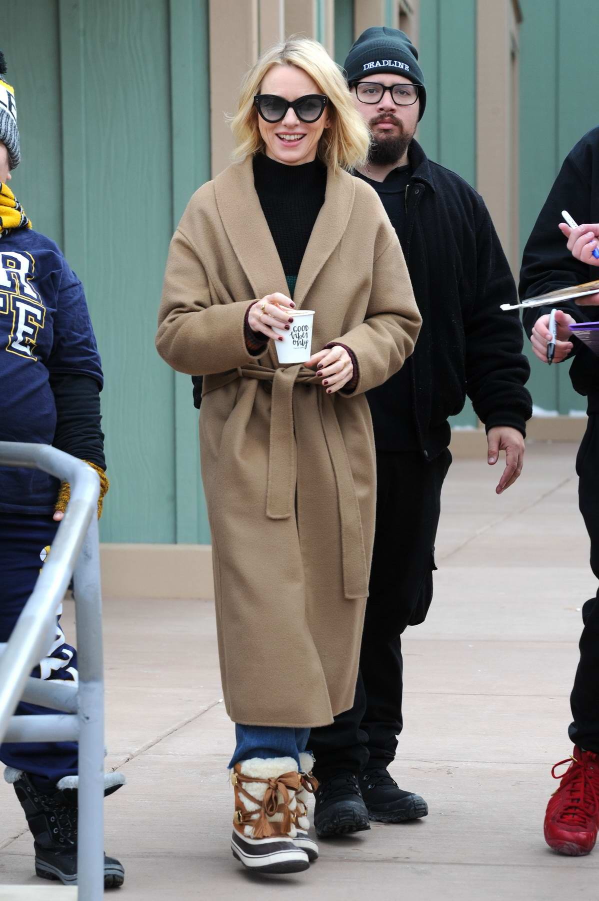 Naomi Watts enjoys a hot coffee while promoting her film 'Ophelia' during the Sundance Film Festival in Park City, Utah