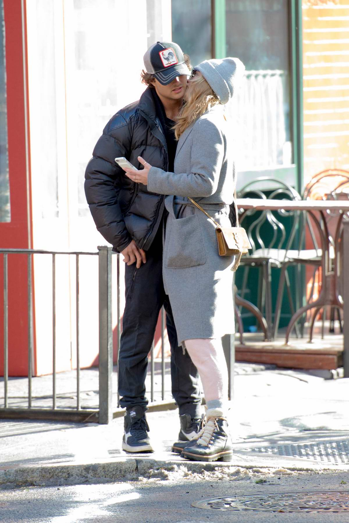 Nina Agdal kisses and walks hand in hand with boyfriend Jack Brinkley-Cook while out for shopping New York City