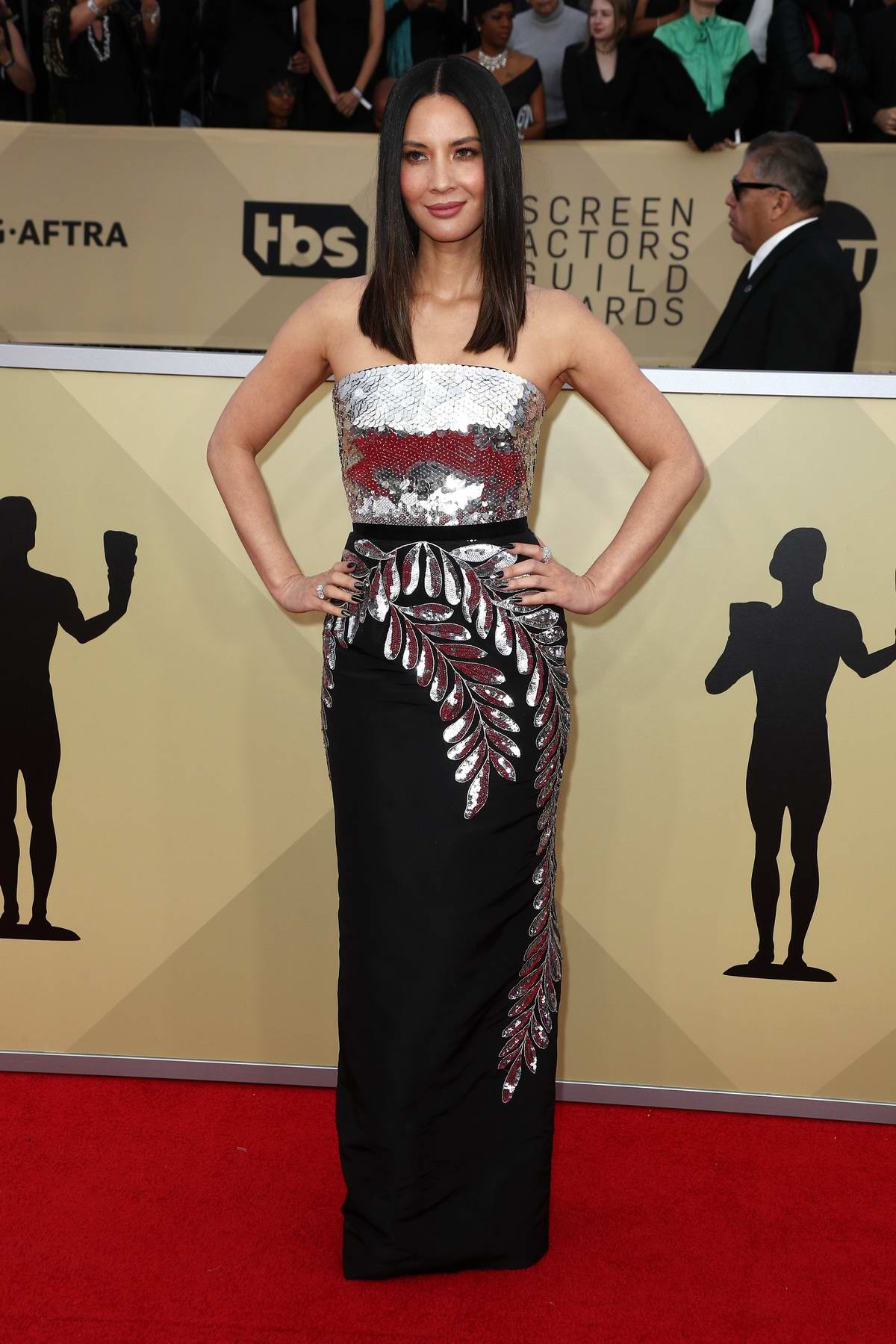 Olivia Munn attends the 24th Annual Screen Actors Guild (SAGs) Awards 2018 at The Shrine Auditorium in Los Angeles