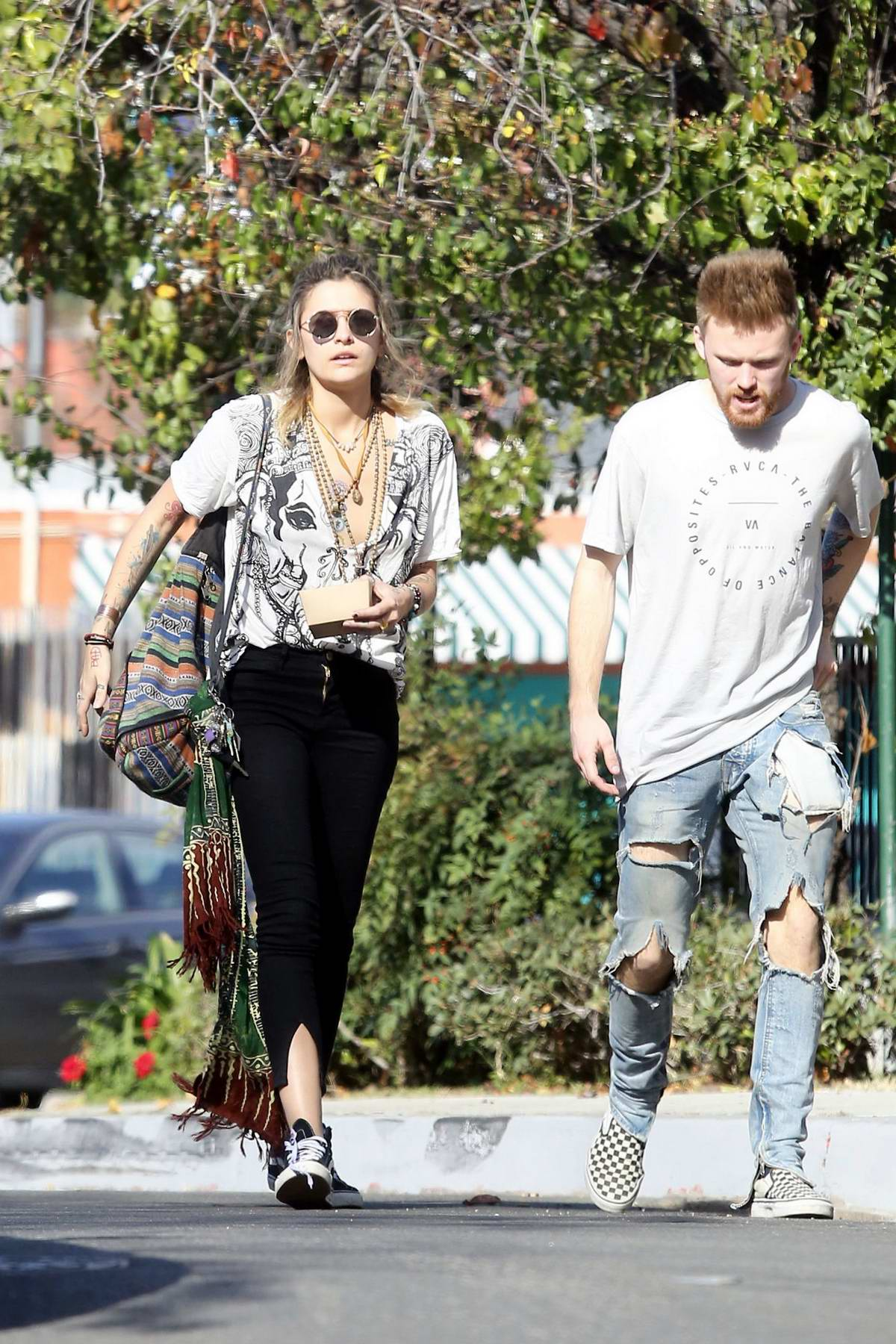 Paris Jackson and ex-boyfriend Chester Castellaw spotted while out for lunch in Woodland Hills, California