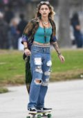 Paris Jackson enjoys a day out skateboarding at Venice beach boardwalk, Los Angeles