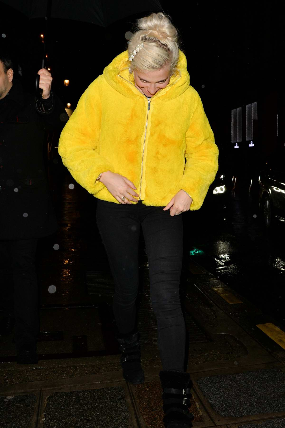 Pixie Lott leaves The Ritz Hotel wearing a bright yellow jacket in Paris, France