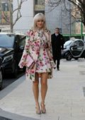 Pixie Lott seen in a pink floral print ensemble during Men's Fashion Week in Milan, Italy