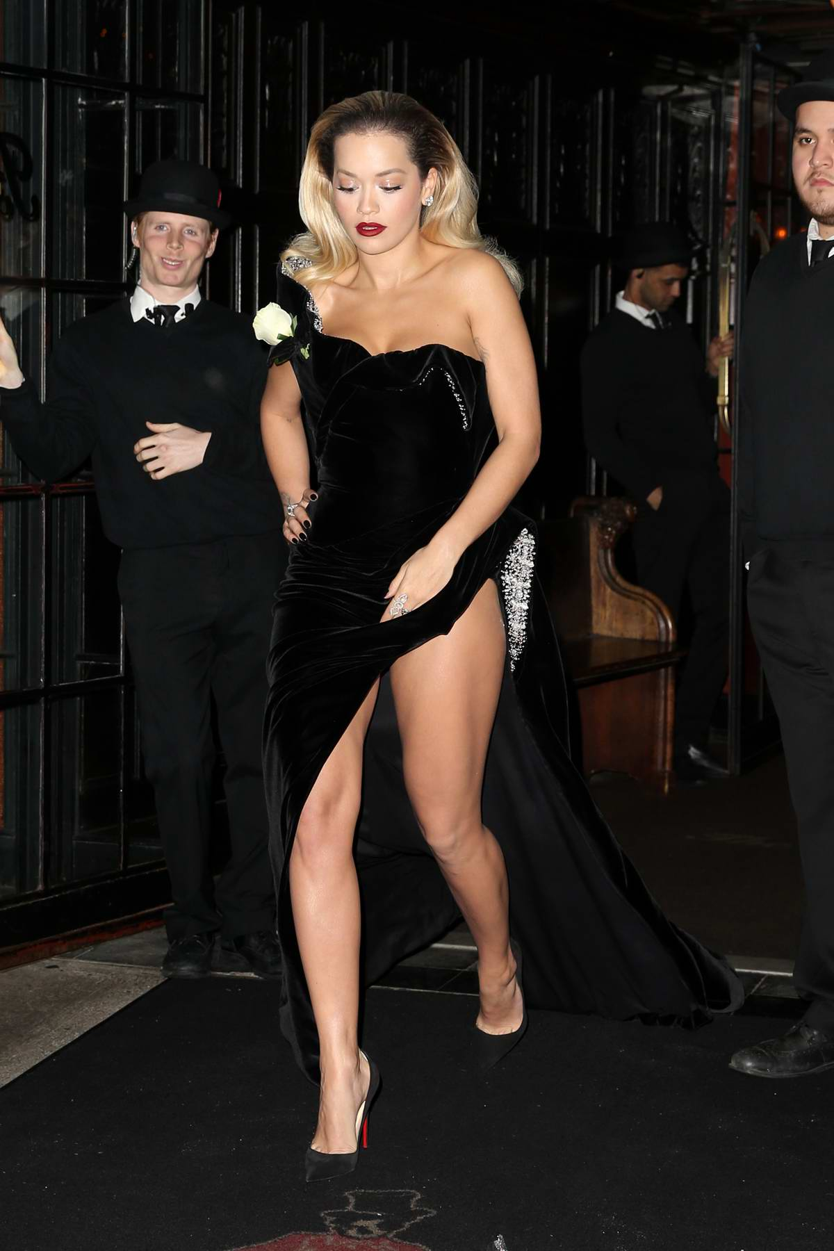 Rita Ora leaves The Bowery Hotel as she heads to the Madison Square Garden for the 60th Grammy Awards in New York City