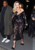 Rita Ora wears a see through dress as she heads to Grammy's after-party in New York
