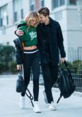 Romee Strijd out in Washington Square Park with boyfriend Laurens van Leeuwen in New York City