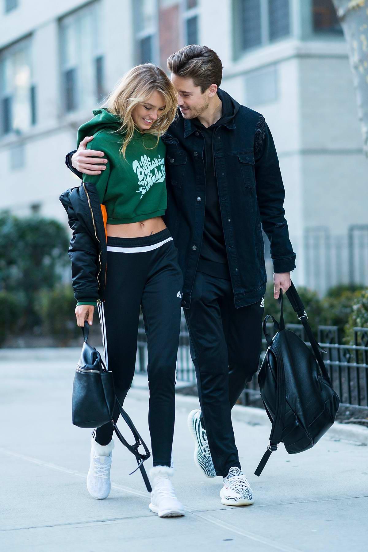 Romee Strijd out in Washington Square Park with boyfriend Laurens van Leeuwen in New York City