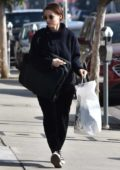Rooney Mara dressed in all black, shops at International Silks & Woolen in Studio City, Los Angeles