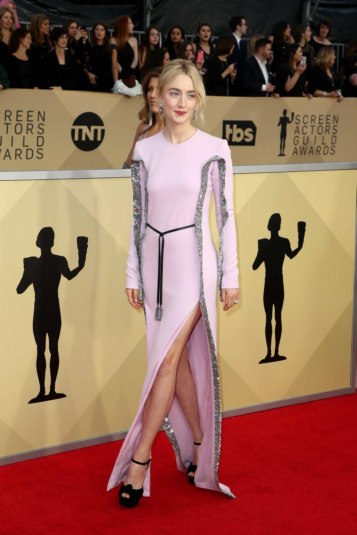 Saoirse Ronan attends the 24th Annual Screen Actors Guild (SAGs) Awards 2018 at The Shrine Auditorium in Los Angeles