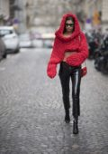 Sara Sampaio shows off her street style during Paris Fashion Week in Paris, France