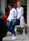 Selena Gomez leaving a Pilates studio with Justin Bieber in West Hollywood, Los Angeles