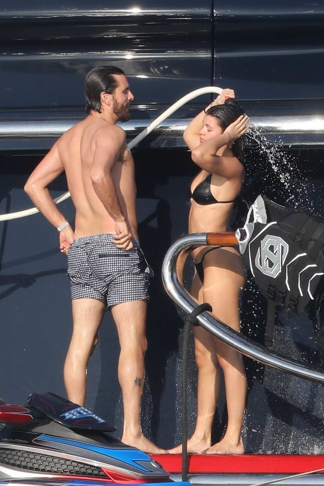 Sofia Richie in a black bikini continues her romantic vacation with Scott Disick on a luxury yacht in Mexico